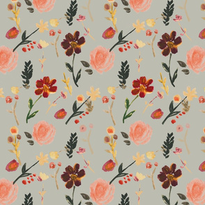 floral fall gray green