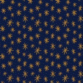 Magical Star Bursts - Medium Scale - Blue and Bronze
