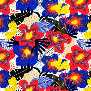 Contemporary exotic tropical flowers leaves botanical pattern