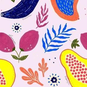 Modern tropical jungle minimalistic fruits floral plants