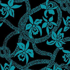 textile-Ilima Lei and Orchid final-invert aqua and black