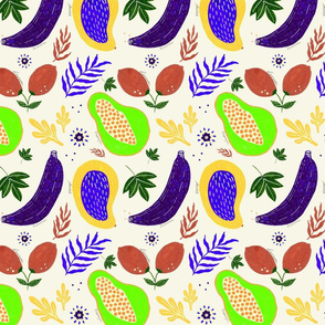 Modern tropical jungle minimalistic fruits floral plants light yellow background