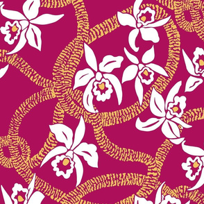 textile-Ilima Lei and Orchid final-rose and gold