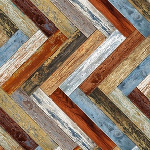 Reclaimed Boat Wood Chevron Tiles Mustard Blue Cream Rust Orange Herringbone Horizontal