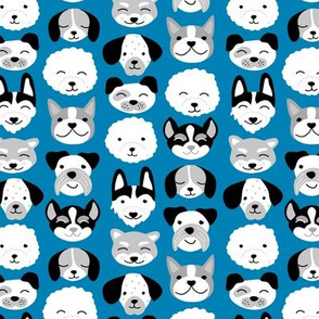 Cute little puppy and dogs design cute cockapoo labradoodle and other beagle and husky friends kawaii kids design classic blue gray