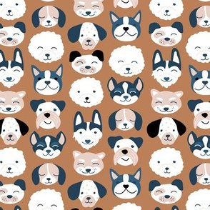 Cute little puppy and dogs design cute cockapoo labradoodle and other beagle and husky friends kawaii kids design russet copper brown