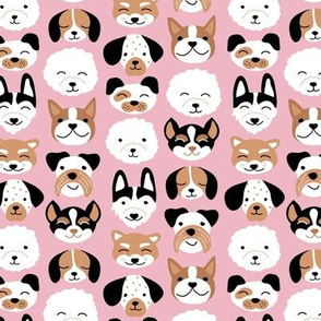 Cute little puppy and dogs design cute cockapoo labradoodle and other beagle and husky friends kawaii kids design pink brown girls
