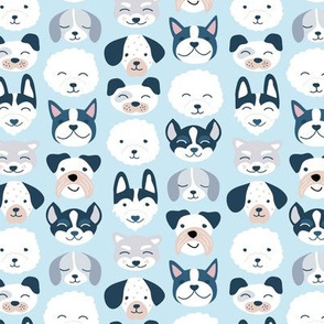 Cute little puppy and dogs design cute cockapoo labradoodle and other beagle and husky friends kawaii kids design soft baby blue gray