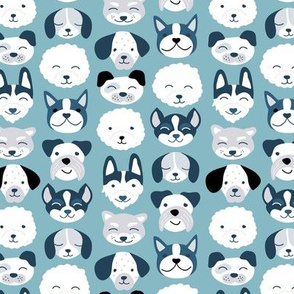 Cute little puppy and dogs design cute cockapoo labradoodle and other beagle and husky friends kawaii kids design moody blue gray winter