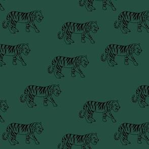 Minimalist tropical tiger jungle animal winter nursery design forest green