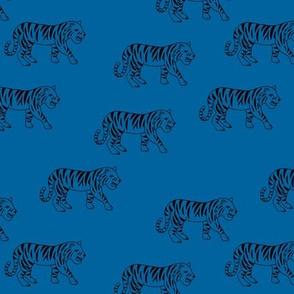 Minimalist tropical tiger jungle animal winter nursery design classic blue