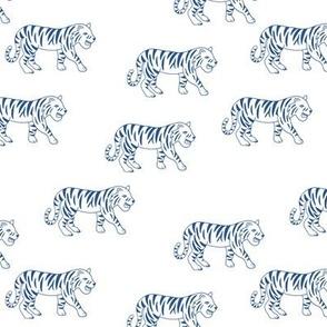 Minimalist tropical tiger jungle animal winter nursery design classic blue on white