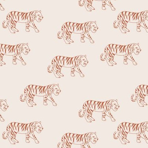 Minimalist tropical tiger jungle animal winter nursery design burnt orange beige