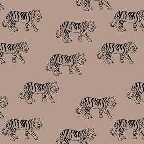 Minimalist tropical tiger jungle animal winter nursery design latte beige sand