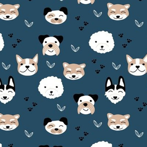 Dog friends and puppy love paws huskey pomeranian shiba inu and poodle design kids navy blue beige night