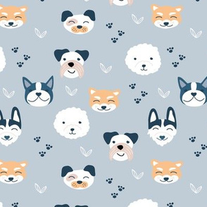 Dog friends and puppy love paws huskey pomeranian shiba inu and poodle design kids cool blue gray neutral