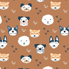 Dog friends and puppy love paws huskey pomeranian shiba inu and poodle design kids russet copper brown