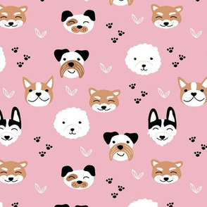 Dog friends and puppy love paws huskey pomeranian shiba inu and poodle design kids pink