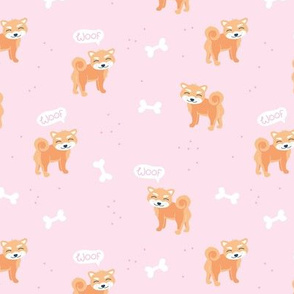 Woof! Barking kawaii shiba inu puppy dog paws and bone orange pink