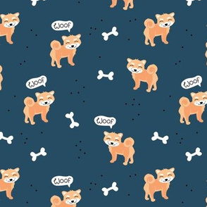 Woof! Barking kawaii shiba inu puppy dog paws and bone navy blue night