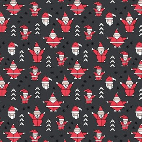 Little origami santa claus design little santas and geometric detailing abstract Christmas seasonal design charcoal gray red