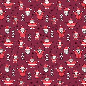 Little origami santa claus design little santas and geometric detailing abstract Christmas seasonal design burgundy red