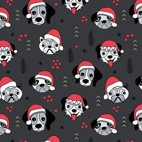 Little puppies in santa hats adorable dog breeds friends pet lovers Christmas holiday design charcoal red green