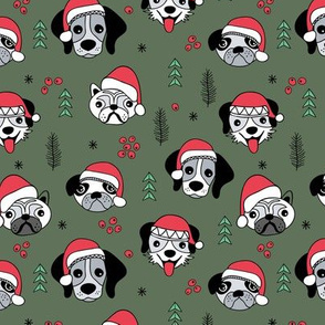 Little puppies in santa hats adorable dog breeds friends pet lovers Christmas holiday design red cameo green