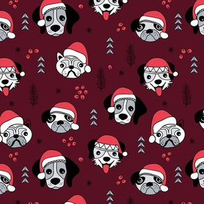 Little puppies in santa hats adorable dog breeds friends pet lovers Christmas holiday design burgundy red cameo