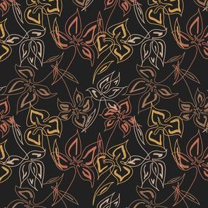 Floral Dark Line Drawing Pattern