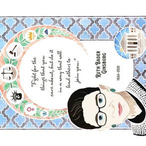 Ruth Bader Ginsburg Tea Towel Tribute Watercolor