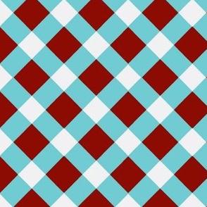 Aqua Blue and White Check Diagonal