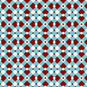 Aqua and Red Checks and Dots