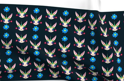 Rabbit Unicorn Flowers Dark Blue Background Fabric