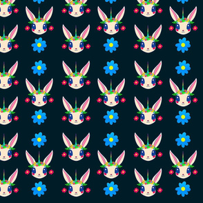 Rabbit Unicorn Flowers Dark Blue Background, SPSD