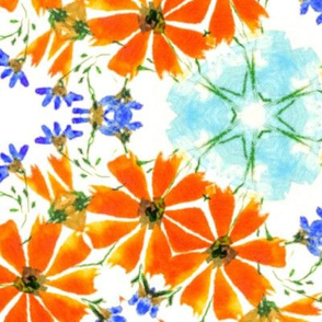 Orange and Blue Loose Watercolour Flowers Kaleidoscope / large scale