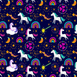 Unicorn on Cloud Rainbow Magic Wand & Stars, SPSD