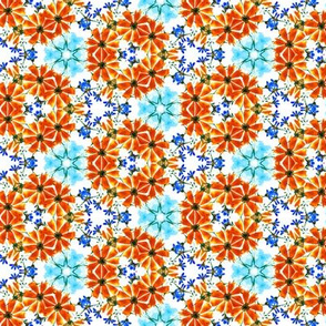 Orange and Blue Loose Watercolour Flowers Kaleidoscope / small scale