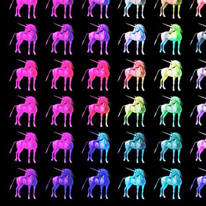Unicorn 3D Rainbow Pattern Black Background, SPSD