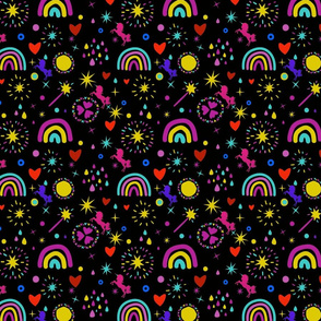 Unicorns Rainbows Hearts & Magic Black Background, SPSD