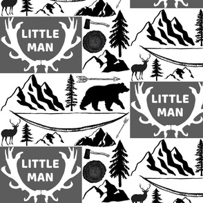 Woodland little man/white  Black and Charcoal