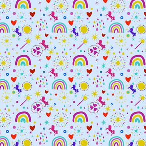 Unicorns Rainbows Hearts & Magic Baby Blue Background, SPSD