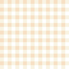 pony up: gingham in buckskin + pearl pink 1 inch