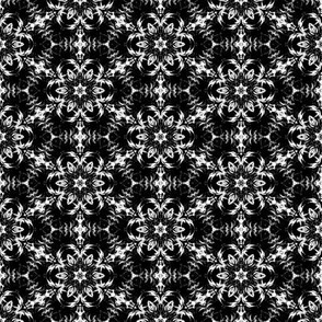 Black and White Kaleidoscopic Flowers