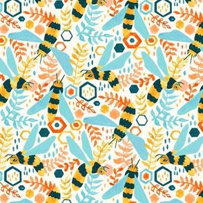 Friendly Gouache Bees - Mint & Peach - Small Version