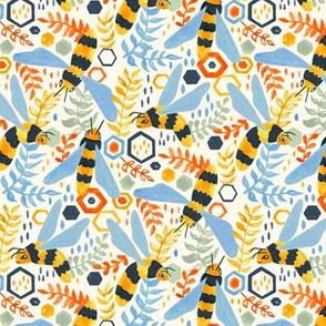 Friendly Gouache Bees - Cornflower Blue & Sage - Small Version