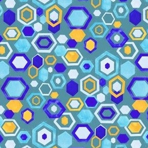 Scattered Gouache Hexagons - Teal - Small Version