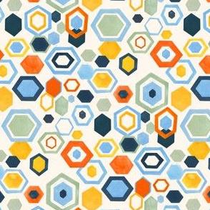 Scattered Gouache Hexagons - Cornflower Blue & Sage - Small Version