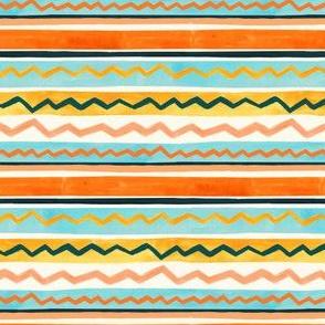 Gouache Stripe & Ricrac Pattern - Mint & Peach - Small Version