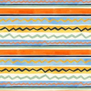 Gouache Stripe & Ricrac Pattern - Cornflower Blue & Sage - Small Version